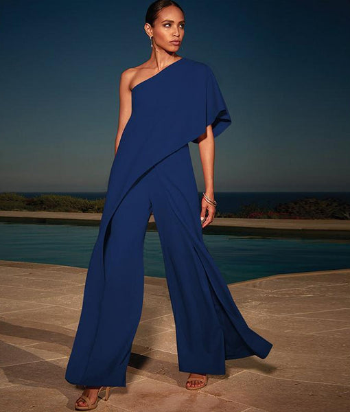 Off Shoulder Long Wide Leg Slash Neck Solid Jumpsuit