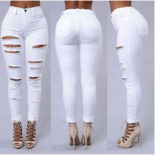 Load image into Gallery viewer, High Waist Skinny Ripped Denim Jeans - kats closet1