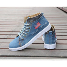 Load image into Gallery viewer, Mens shoes casual high top sneakers stylish USA denim flat boots blue black - kats closet1