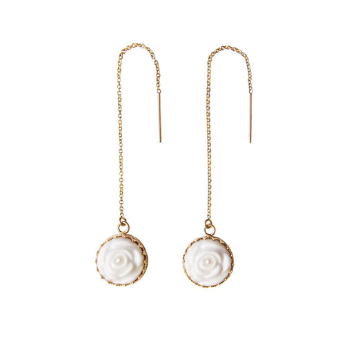 Porcelain Rose With Pearl Gold-Filled Chain Earrings - kats closet1