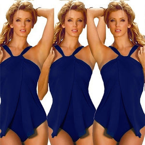 Halter Neck Wrap Split Front Bikini One Piece - kats closet1