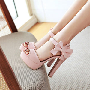 Solid color women high heels sandals bowknot summer sweet wedding shoes wedding shoes - kats closet1