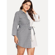 Load image into Gallery viewer, Two Tone Belted Shirt Dress - kats closet1