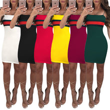 Load image into Gallery viewer, Hot Sexy Casual Dresses Striped Panelled Belt skirt for Women 2018 Slash Neck Womens Corset Middle-skirt Summer Street Style Dresses - kats closet1