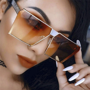 New Color Women Unique Oversize Shield UV400 Gradient Vintage Sunglasses