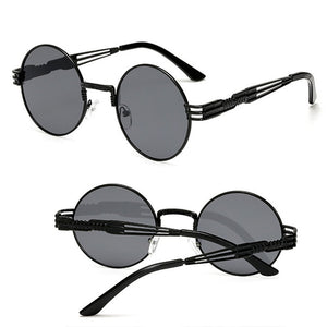 Gothic Steampunk Men / Women Metal Wrap Round Shades Sunglasses - kats closet1