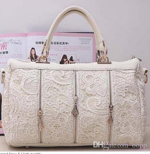 Genuine PU Leather Hobo Black, White, Light Pink Lace Bags
