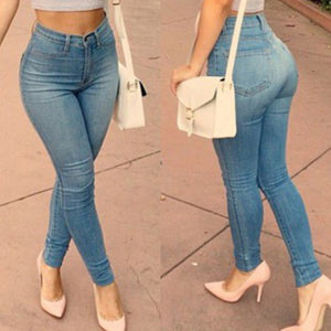 Skinny High Waist Denim Blue Jeans - kats closet1