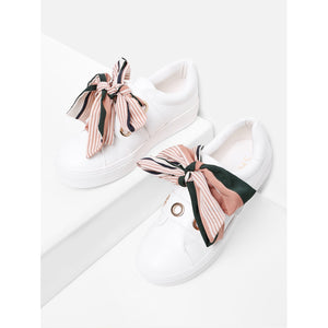 Bow Decorated Slip On Sneakers - kats closet1