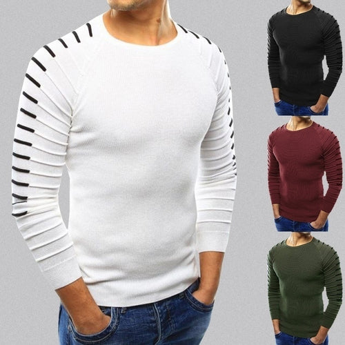 Men Slim Natural Color Basic Crew Neck Sweaters Jumpers - kats closet1