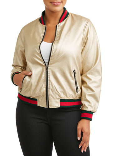 Women's Plus Size Varsity Trim Metallic Jacket - kats closet1
