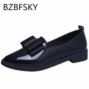BZBFSKY 2017 Women Casual Pointed Toe Black Oxford Shoes for Women Flats Comfortable Slip on Women Shoes Classic Brand Shoes - kats closet1