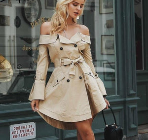 Sexy off shoulder Double Breasted Trench Coat - kats closet1