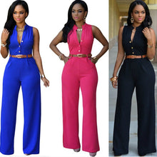 Load image into Gallery viewer, V-Neck Sleeveless High Waist Slim Casual Jumpsuit - kats closet1