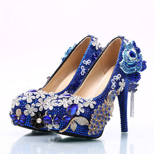 Women wedding shoes High-heeled shoes heels 8 cm bigger size 34-42 fashion dress shoes Blue Crystal bride beautiful wedding shoe - kats closet1