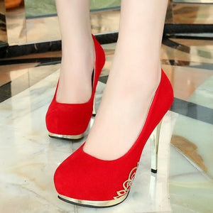 Sexy High Heels Women Elegant Suede Wedding Shoes (US Size 4.5-8, Red, Black) - kats closet1