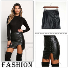 Load image into Gallery viewer, Bandage Leather High Waist Short Mini Skirt - kats closet1