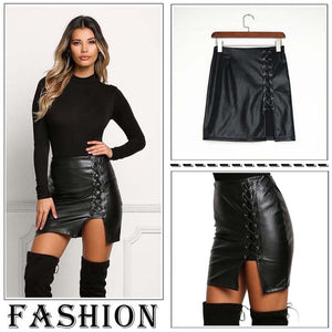Bandage Leather High Waist Short Mini Skirt - kats closet1