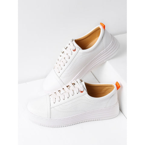 White Round Toe Lace Up Sneakers - kats closet1