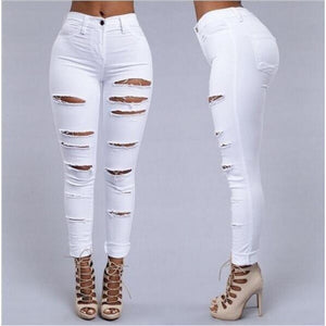 Ripped Holes Cut Out Punk Street Denim Jeans - kats closet1