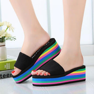 Beach Sandals Rainbow High Platform Wedge Slippers - kats closet1