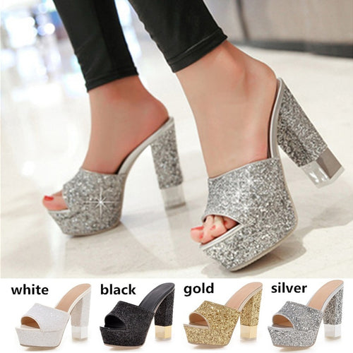 Women Sandals 2016 Ladies Summer Slippers Shoes Women Glitter High Sandals Large Size43Fashion Platform Shoes gold Party Wedding - kats closet1