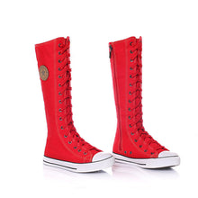 Load image into Gallery viewer, Manresar 2017 New Fashion 7Colors Women's Canvas Boots Lace Zip Knee High Boots Women Boots Flats Casual Tall Punk Shoes Girls - kats closet1