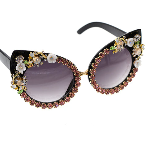Fashion Baroque Girls Flower Cat Eye Crystal Sunglasses - kats closet1