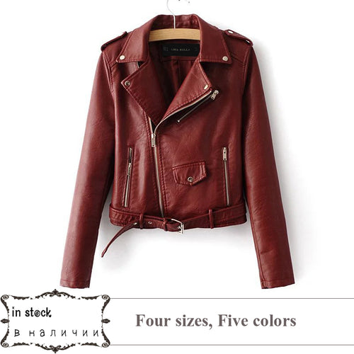 S-XL New Spring Fashion Bright Colors Good Quality Ladies Basic Street Women Short PU Leather Jacket FREE Accessories - kats closet1