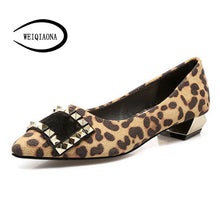 Load image into Gallery viewer, WEIQIAONA Woman flat shoes rivets with horsehair square buckle shallow low heel Pointed toe spring and summer fashion sexy shoes - kats closet1
