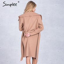 Load image into Gallery viewer, Simplee Black ruffle warm winter coat Women turndown long coat collar overcoat female Casual autumn 2016 pink outerwear - kats closet1
