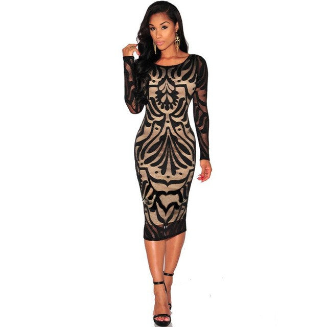 Summer Dress Long Sleeve Lace Dress Women Sexy Bodycon Bandage Evening Party #LSIN - kats closet1