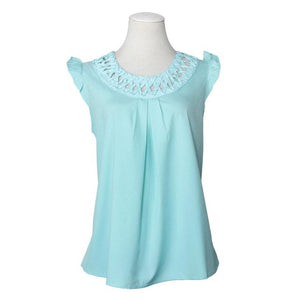 Women's BlusasWomen Summer Casual Chiffon Sleeveless Shirt Vest Tank Tops Loose Blouse #LSIW - kats closet1