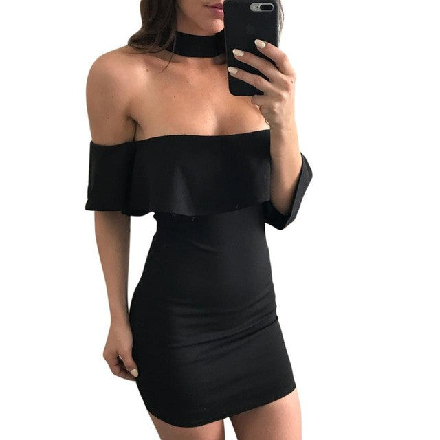Off Shoulder Summer Dress 2017 Women Sexy Lotus Leaf Mini Black Party Dress Slim Clothes for Women plus size#LSN - kats closet1