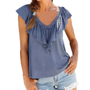 Ruffle V Neck Sleeveless Casual Shirt - kats closet1