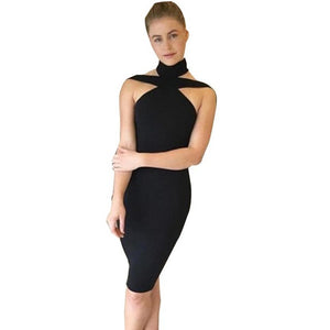 Women Ladies Evening Party Dress Sexy Bandage Sleeveless Sexy Halter Pencil Sheath Bodycon Dress vestidos Black White - kats closet1