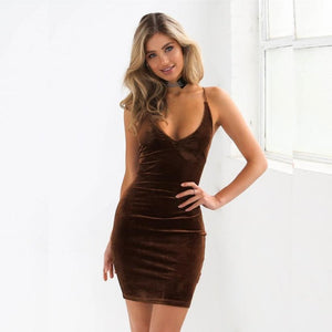 Summer Dress 2017 Womens Sexy Deep V Sleeveless Backless Bodycon Mini Dress Ladies Nightout Velvet Party Dresses - kats closet1