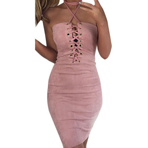 Sexy Women Off Shoulder Dress 2017 Summer Halter Bandage Bodycon Cocktail Sleeveless 4 Colors Sexy & Club Short Mini Dress - kats closet1