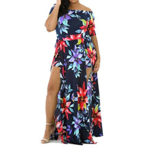 Load image into Gallery viewer, Women Sexy Off the Shoulder Romper Short Trousers Bodycon Playsuit Printing Long Dress Larger Size M~L3 - kats closet1