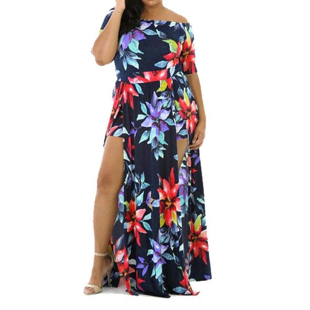 Women Sexy Off the Shoulder Romper Short Trousers Bodycon Playsuit Printing Long Dress Larger Size M~L3 - kats closet1