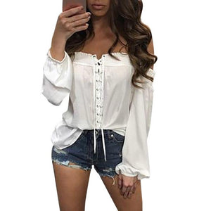 Summer Blouse Fashion Womens Loose Casual Off Shoulder Blue White Blouse blusas feminina ver o 2017 #LSN - kats closet1