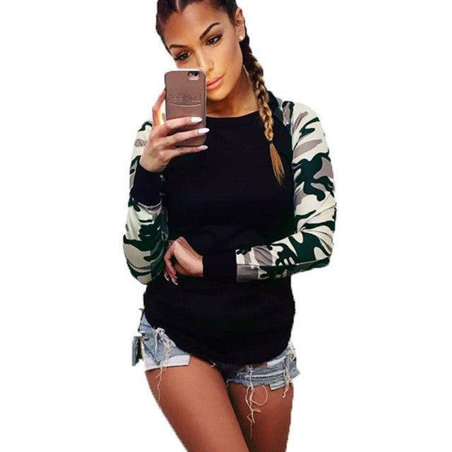 Hot Sale ! Army Green T Shirt Women Long Sleeve Shirt Casual Printing Plus Size Tops For Cool Girl - kats closet1