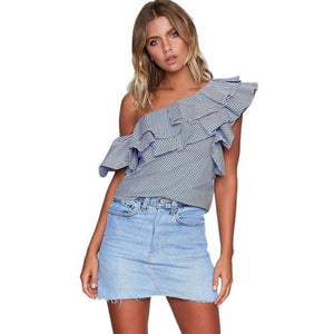 Fashion Ruffles One Shoulder Blouse Summer Womens 2017 Sexy Off Shoulder Casual Loose Tops Women blouses shirt party tube top - kats closet1