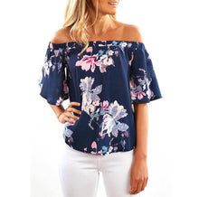 Load image into Gallery viewer, Summer Blouse 2017 Women Fashion ShortSleeve OffShoulder Floral Printing Casual ruffles shirt women Tops Shirt blouse sans manch - kats closet1