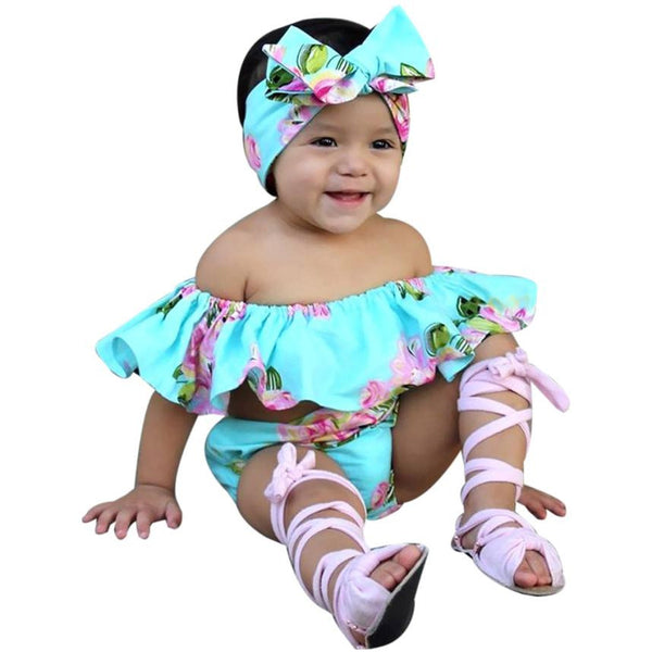 Kids baby girls set Floral Toddler Baby Girl Off Shoulder T Shirt Tops Shorts Outfit children Clothes Sets baby girl clothes - kats closet1