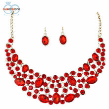 Load image into Gallery viewer, SUSENSTONE Jewelry Women Gold Jewelry Set Party Necklace Earrings Set - kats closet1