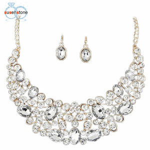 SUSENSTONE Jewelry Women Gold Jewelry Set Party Necklace Earrings Set - kats closet1