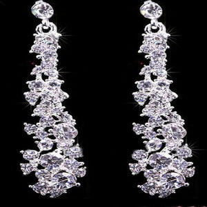 SUSENSTONE Crystal Bridal Jewelry Sets Hotsale Necklace+earrings Jewelry Wedding - kats closet1