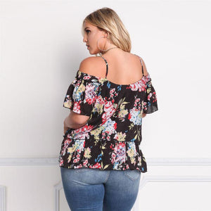 Short Sleeve Flower Print Off Shoulder.Plus Size Blouse