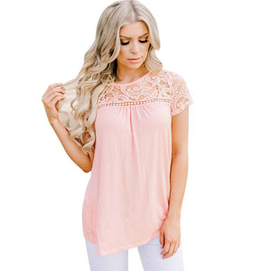High Quality Women Lace Top Blouse Casual O-Neck Tank Tops Shirt Hollow Out Short Sleeve blusas femininas White Pink Blue - kats closet1